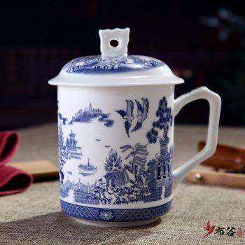 CBDI42-F-07手工高档骨瓷青花春意盎然图茶杯 品茗杯 老板杯尺寸 高15cm口径9cm容量550ml