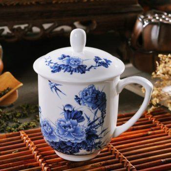 CBDI33-B-13手工高档骨瓷景式杯 青花富贵花开图茶杯 品茗杯 老板杯尺寸:高15/11cm 口径 11cm 容量 550ml