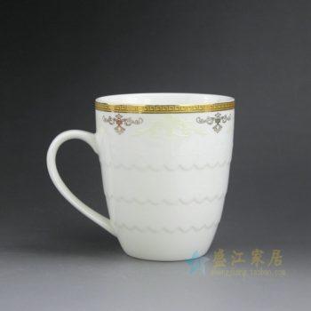 CBAG01-F 新骨瓷 金边花卉纹茶杯 品茗杯 尺寸: 口径 9厘米 高 10.3厘米 容量 380毫升