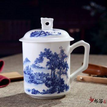 CBDI42-E-07手工高档骨瓷带孔盖杯 叶子杯 青花秀丽风光图茶杯 品茗杯 老板杯尺寸 高15cm口径9cm容量550ml