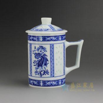 CBAF09 9226青花玲珑水草金鱼屏画带盖茶杯 老板杯 办公杯 尺寸 :口径 7.5厘米 高 14厘米 容量 320毫升