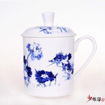 CBDI43-ZB-01手工高档骨瓷青花和为贵荷莲图茶杯 品茗杯 手柄带盖老板杯尺寸 高15cm口径9cm容量550ml