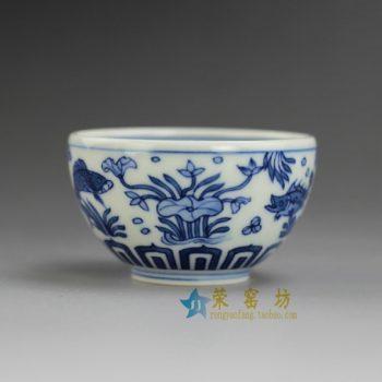 RYBS94 9061敬畏堂全手工茶杯 手绘鱼草图茶杯 茶碗 功夫茶具 尺寸:口径 6.5厘米 高 3.8厘米 容量 50毫升