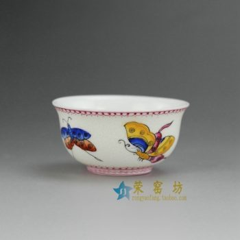 RYMY17-A 8169手工青花斗彩彩蝶图茶杯 品茗杯 功夫茶具 尺寸:口径 6.2厘米 高 3.2厘米 容量 50毫升