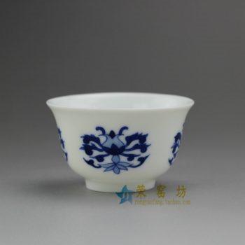 14U66-F 8072青花 花卉图茶杯 品茗杯 功夫茶具 尺寸: 口径 6厘米 高 3.6厘米 容量 50毫升