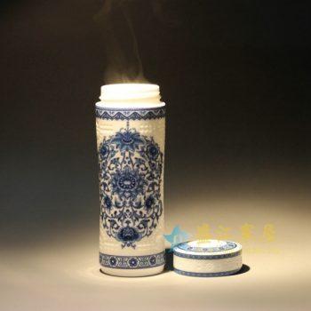 / CBAK01-B 11手绘青花缠枝莲刻纹茶杯 保温杯 旅行杯