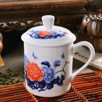 CBDI43-Q-10手工青花斗彩富贵花开图茶杯 品茗杯 老板杯尺寸 高15cm口径9cm容量550ml