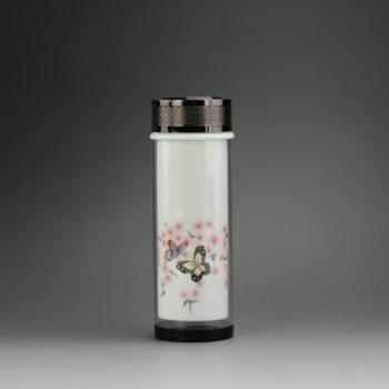 CBAJ03-A 8262手工粉彩蝶恋花图水晶玻璃外壳瓷杯 养生保温杯 旅行杯 尺寸:高 19.3cm 口径 5cm 容量 320cm