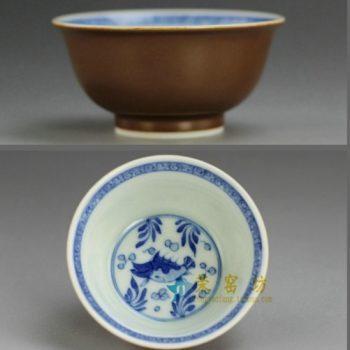 RYBS88 紫金釉全手工茶杯 手绘青花鱼草图茶杯 品茗杯 功夫茶具
