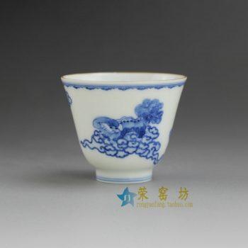 RYBS101 9097敬畏堂全手工茶杯 手绘青花狮舞图 茶杯 品茗杯 功夫茶具 尺寸: 口径 6.2厘米 高 5.2厘米 容量 60毫升