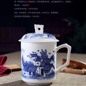 CBDI42-A-07手工高档骨瓷带孔盖杯 青花山村风光图茶杯 品茗杯 老板杯尺寸 高15cm口径9cm容量550ml