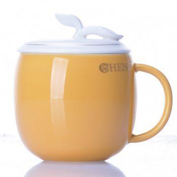 CBAB01-F-05七彩养生杯 创意颜色釉雕塑花卉提手盖茶杯 品茗杯 尺寸:高 12cm 口径 8.5cm 容量 300ml