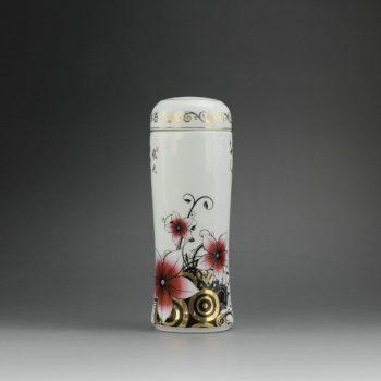 CBAJ02-B 8280手工全瓷粉彩花卉图案茶杯 养生保温杯 旅行杯 尺寸:高 19.8cm 口径 5.6cm 容量 300ml