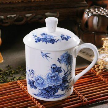 CBDI43-T-16手工高档骨瓷青花鸟语花香图茶杯 品茗杯 老板杯尺寸 高15cm口径9cm容量550ml