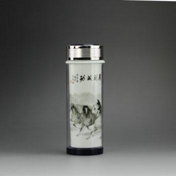 CBAJ03-B 8265手工粉彩马到成功图水晶玻璃外壳瓷杯 养生保温杯 旅行杯 尺寸:高 19.3cm 口径 5cm 容量 320cm