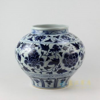 RZEZ02-A 9370青花缠枝花卉瓷坛 储物罐 尺寸: 口径 18.3 肚径 34.2厘米 高 39.6厘米