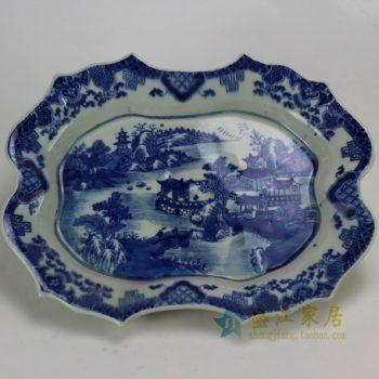 RZDA06 0340景德镇陶瓷 仿古青花 手绘盘 山水楼阁果盘 赏盘 大碟鱼盘 尺寸:长36厘米 宽28.2厘米 高5.5厘米