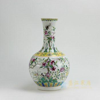RYZG08 9593景德镇陶瓷花瓶 粉彩寿桃果枝图花瓶 花插 工艺装饰摆件 规格尺寸:口径 10.3 厘米 肚径 24.3 厘米 高 42.2厘米