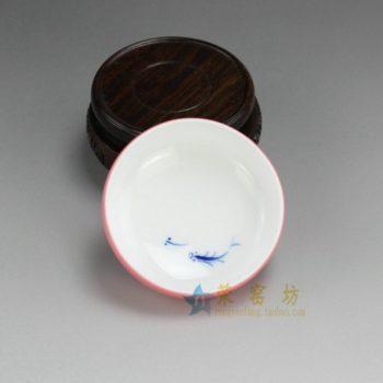 RZDT07-D 9953景德镇陶瓷 高温颜色釉粉红内手绘青花游鱼图茶杯 品茗杯 功夫茶具