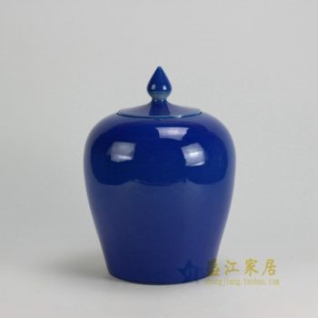 RYKB121-B 0490景德镇陶瓷 颜色釉蓝色细裂纹细开片茶叶罐 盖罐 储物罐