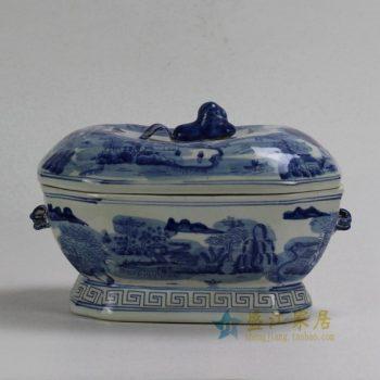 RYUV18 0792景德镇陶瓷 手绘青花山水风景图盖罐 果盒