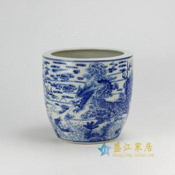 RZDA04-A 0370景德镇陶瓷 仿古青花手绘龙纹瓷缸 瓷坛 花缸 花盆 尺寸:口径 25.2厘米 高 24.8厘米