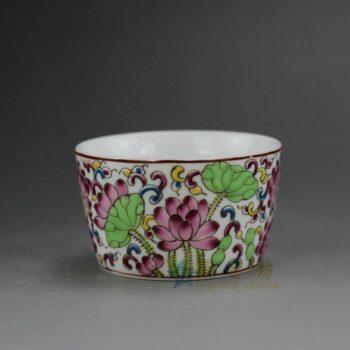 RYIC31-C 0673景德镇陶瓷 手绘珐琅彩荷花图纹茶杯 品茗杯 功夫茶具 尺寸:口径 6.5厘米 高 4厘米 容量 70毫升