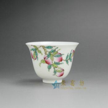 RYNY08-G 9768景德镇陶瓷杯 手绘粉彩寿桃图茶杯 品茗杯 功夫茶具 产品规格尺寸: 口径 6.3厘米 肚径 6.3 毫米 高 5.8 厘米 容量 65 毫升