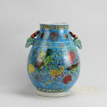 RZFA08 9605景德镇陶瓷尊 粉彩兽耳寿纹狮舞图瓷尊 花瓶 工艺装饰摆件 规格尺寸:口径 13.5 厘米 肚径 24.2厘米 高 32.5 厘米