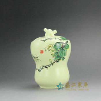 RZEJ07 9840景德镇陶瓷 手绘粉彩齐白石画茶叶罐 盖罐 储物罐 规格尺寸:口径 9.5 厘米 肚径 10.5 厘米 高 15.3 厘米