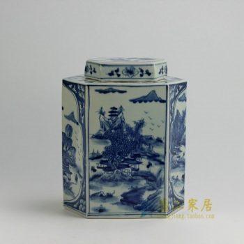 RYUK22 0125景德镇陶瓷 手绘青花山水风景屏画长六边形茶叶罐 盖罐 储物罐 规格尺寸:口径 12*6.3 厘米 肚径 25*15 厘米 高 30.3 厘米