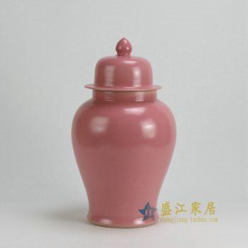 RYKB117-A 0459景德镇陶瓷 高温颜色釉粉红罐子 全手工将军罐 盖罐 储物罐 尺寸:口径 12厘米 肚径 21厘米 高 37.5厘米
