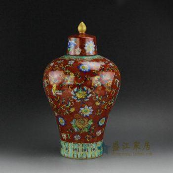 RYVJ01 0732景德镇陶瓷 手绘粉彩红底寿字图文将军罐 盖罐 储物罐 尺寸:口径 6厘米 肚径 21厘米 高 36.8厘米