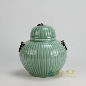 RYKB122-A 0446景德镇陶瓷 高温颜色釉雕刻瓜棱 豆青带环茶叶罐 盖罐 储物罐 尺寸; 口径 11.7厘米 肚径 25厘米 高 26厘米
