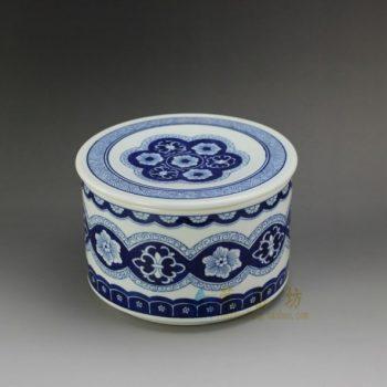 RYSN10 8643景德镇陶瓷 手绘青花缠枝花卉图茶叶罐 盖罐 储物罐 产品尺寸:口径 17.3厘米 盖径 18.2厘米 高 12.2厘米