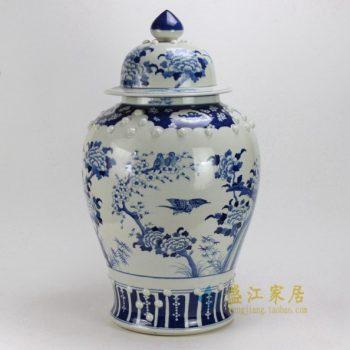 RYLU20 0533景德镇陶瓷 仿古青花 手绘花鸟大将军罐 瓷罐 储物罐 盖罐 尺寸:口径38厘米 高70厘米