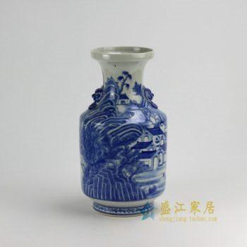 RZDA16 0390景德镇陶瓷 手绘仿古青花狮子双耳环花瓶 工艺装饰摆件 尺寸:口径 15.5厘米 肚径 21.6厘米 高40.5厘米
