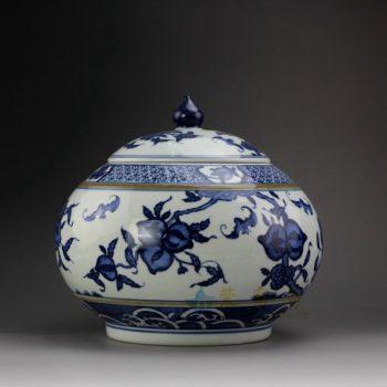 RYSN16 8672景德镇陶瓷 手绘青花福寿图茶叶罐 盖罐 储物罐 规格尺寸:口径 13.5 厘米 肚径 23.6 厘米 高 21.8 厘米
