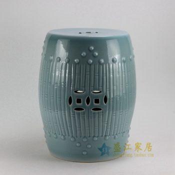 RYKB88-B 0571景德镇陶瓷 高温颜色釉瓜棱纹鼓凳 凉墩 瓷凳