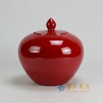 RYKB120-B 0502景德镇陶瓷 颜色釉大红全手工细裂纹 细开片 茶叶罐 盖罐 储物罐 尺寸:口径 10厘米 肚径 23.5厘米 高23.5厘米