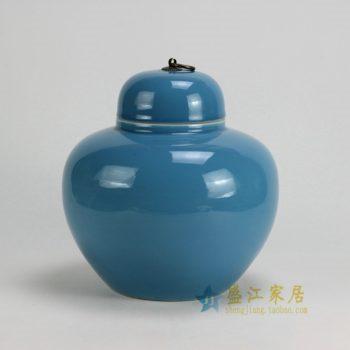 RYKB123-B 0452景德镇陶瓷 高温颜色釉全手工天蓝茶叶罐 盖罐 储物罐 尺寸:口径 11厘米 肚径 24厘米 高 25厘米