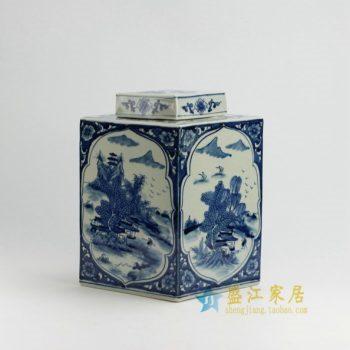 RYUK16 0084景德镇陶瓷 手绘青花山水风景人物屏画菱形罐 盖罐 储物罐 规格尺寸:口径 8.5厘米 肚径 28 厘米 高 30 厘米