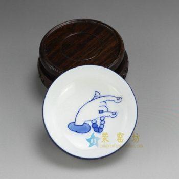 RZDT07-E 9939景德镇陶瓷 高温颜色釉宝石蓝内手绘佛手图茶杯 品茗杯 功夫茶具