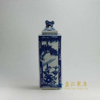 RYUK20 0112景德镇陶瓷 手绘青花美女图屏画狮盖罐 储物罐 家居装饰摆件