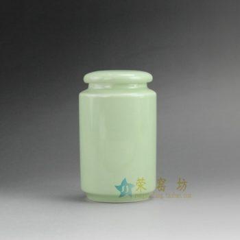 RZDT02-B 9974景德镇陶瓷 高温颜色釉豆青茶叶罐 盖罐 密封罐 规格尺寸:口径 5.8厘米 肚径 7.8厘米 高 13.2厘米