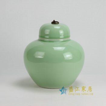 RYKB123-A 0449景德镇陶瓷 高温颜色釉全手工青釉茶叶罐 盖罐 储物罐 尺寸:口径 11厘米 肚径 24厘米 高 25厘米