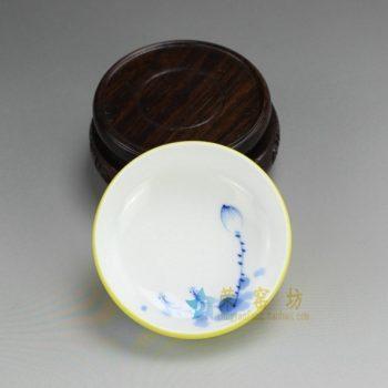 RZDT07-B 9942景德镇陶瓷 高温颜色釉柠檬黄内手绘荷花茶杯 品茗杯 功夫茶具