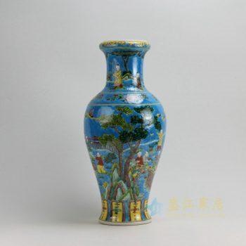 RZFA01 9555景德镇陶瓷 手工粉彩蓝地婴戏图纹花瓶 花插 工艺装饰摆件