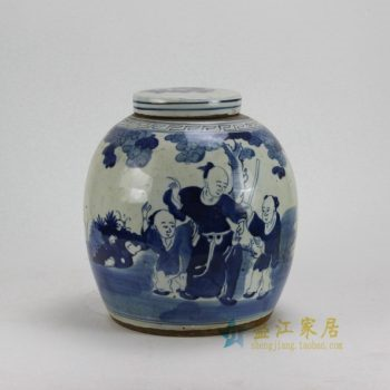 RZEY05-B 0546景德镇陶瓷 仿古手绘青花人物图 盖罐 储物罐 尺寸:口径 11厘米 肚径 26厘米 高 30厘米
