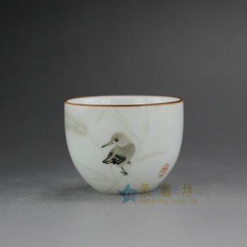 RYOK76-H 0694景德镇陶瓷 亚光白纯手工胎 手绘粉彩鸟铁口 紫金口茶杯 品茗杯 功夫茶杯 尺寸:口径 5.6厘米 高 5.5厘米 容量 60毫升